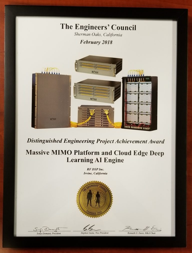 Massive MIMO Platform and Cloud Edge Deep Learning AI Engine Won Distinguished Engineering Project Award